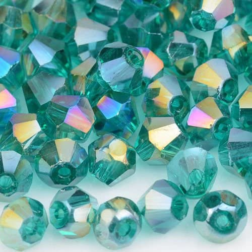 XinBoWen DIY 4mm 1000Pcs Bulk Faceted Bicone Crystal Glass Beads with Container Box Beads for Making Jewelry Mixed Colors