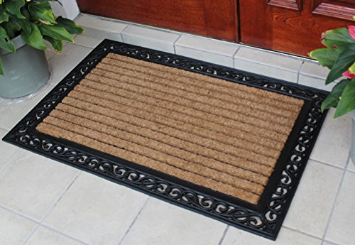 A1HC FIRST IMPRESSION Striped Doormat |Rubber and Coir Doormat | 30 x 48 Inch | Standard Double Doormat |Natural Fade | Large Size Doormat |Rubber Backed | Outdoor Mat ()