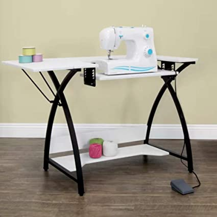 Amazon Sewing Cutting Table With Storage White With Black Metal Inspiration Corner Sewing Machine Table