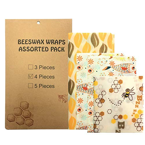 Beeswax Food Storage Wraps, 4-Pack, Organic Reusable, Eco-Friendly, Sustainable, Biodegradable, Non Toxic and Plastic Free, Great For Storing Sandwiches And Vegetables - 1 Small, 2 Medium, 1 Large