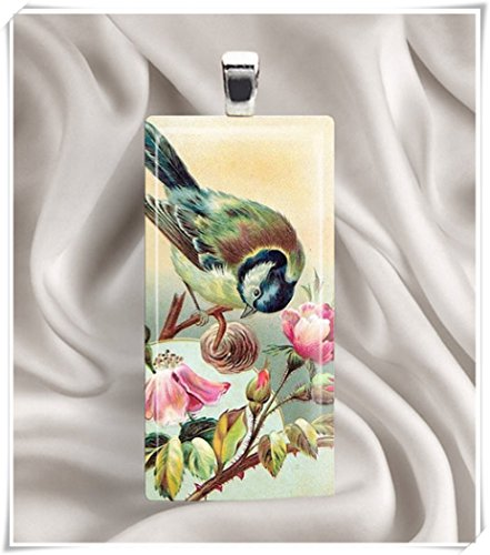 (Rosebud Bird Rectangle Pendant,Art necklaces, glass jewellery, pure handmade)