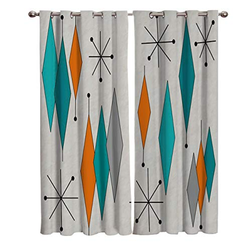 Europen Retro Prismatic Modern Mid Century Darkening Blackout Window Curtain Panels Prismatic Mid Century Draperies Window Treatments With Solid Grommet for Living Room 2 Pieces 27.5