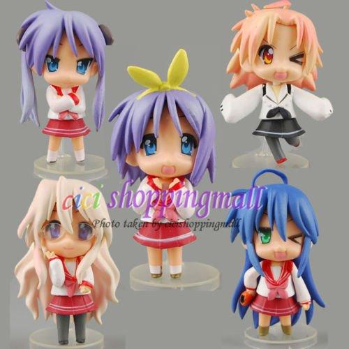 DASARA 5pcs Lucky Star PVC Anime Action Figure Doll Set Of 5 pcs, (Minecraft Halloween Spawn)
