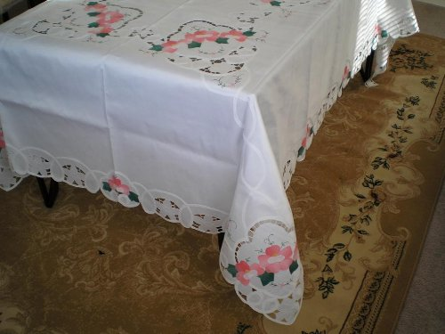 Snow White Battenburg Lace with Embroidery Table Clothes/Covers