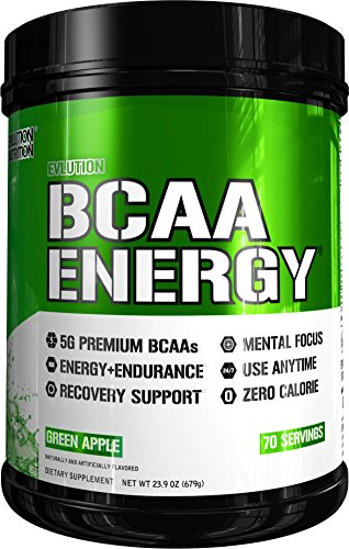 Evlution Nutrition BCAA Energy – High Performance, Energizing Amino Acid Supplement for Muscle Building, Recovery, and Endurance (70 Servings) Green Apple