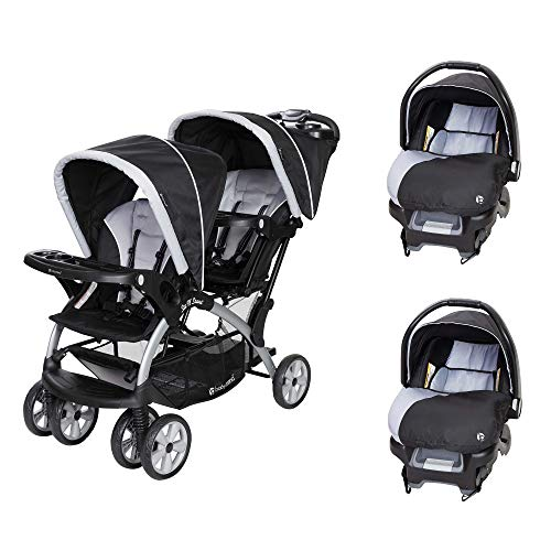 Baby Trend Sit N Stand Tandem Stroller + Car Seats (2) Travel System, Stormy ()