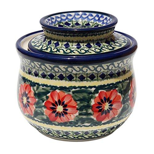 Polish Pottery French Butter Dish From Zaklady Ceramiczne Boleslawiec #1512-134 Art Signature Pattern