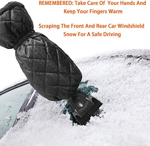 Black Ice Scraper Mitt Windshield Snow Scrapers with Waterproof Ice Brush Freezer Tool Car Truck Frost Winter Scraper Snow Remover Glove Lined of Thick Fleece for Car