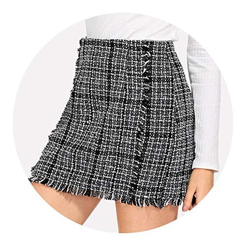 Black And White Tweed Skirt - better-caress Skirts Multicr Elegant Frayed Edge Trim P Tweed Mid Waist Autumn Highstreet Skirts,Black and White,M