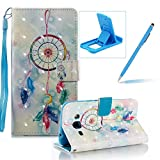 Strap Leather Case for Samsung Galaxy J320 2016,Wallet Stand Flip Case for Samsung Galaxy J320 2016,Herzzer Bookstyle Stylish Pretty 3D Feather Dreamcatcher Pattern Magnetic PU Leather with Soft Silicone Inner Back Case for Samsung Galaxy J320 2016