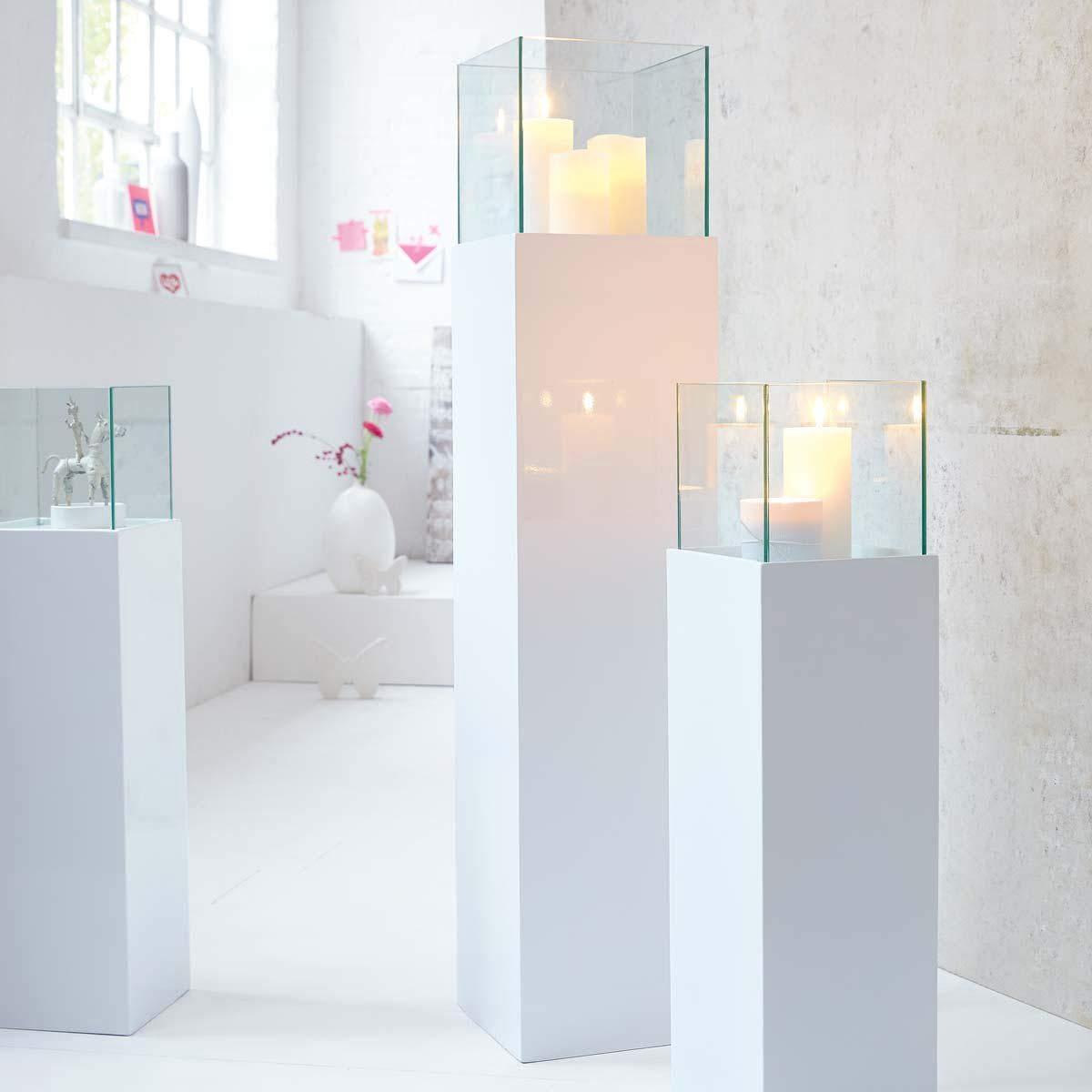 Floor Standing Hurricane Candle Holder Pillar Lantern White High Gloss Finish 20 x 20 x 80 cm PureDay