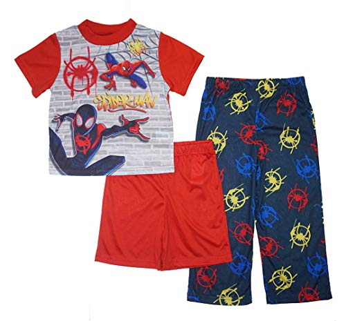 (Marvel Little/Big Boy's Spider-Man Three-Piece Pajama Set, Black, 6)