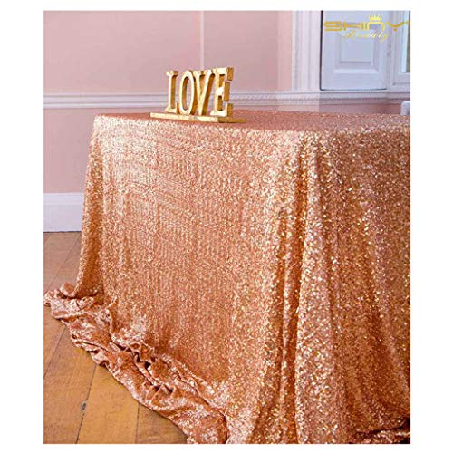 ShinyBeauty 60inx102in Sequin Tablecloth for Wedding/Party- (Rose Gold #65) ()