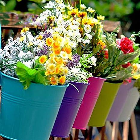 Fleurs de fer color/ées Pot suspendu Balcon Jardin Patio Planteur M/étal Seau Fleur titulaires