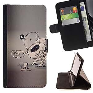 - Queen Pattern FOR Apple Iphone 5C /La identificaci????n del cr????dito ranuras para tarjetas tir????n de la caja Cartera de cuero cubie - dog puppy sketch grey artist art cartoo