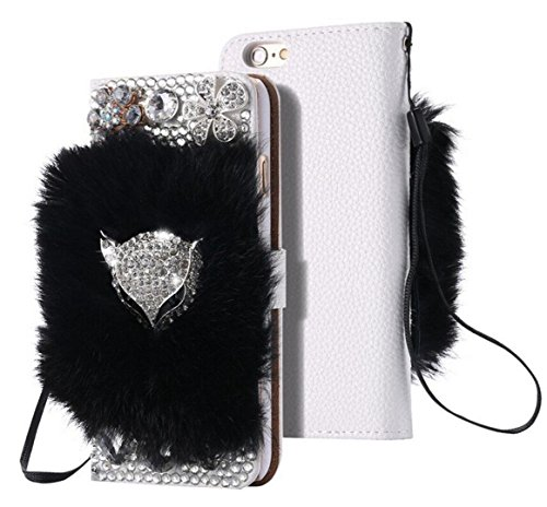 Spritech(TM) Handmade Plush Bling Sparkly Crystal Diamond Fox Head Glitter Flower Card Holder Leather Wallet Flip Case for iPhone 6 Plus/6S Plus 5.5 - Reply Cards 6