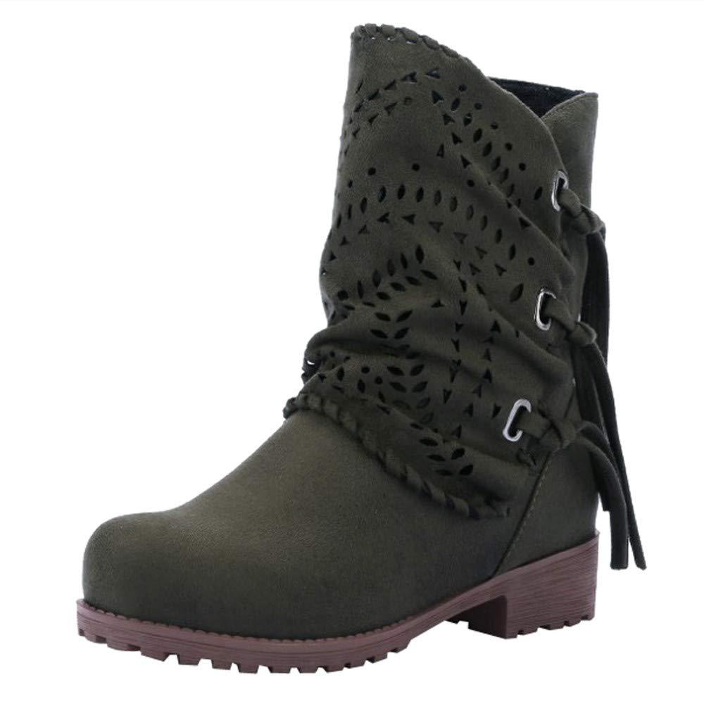 Botas planos Arriba alto elegante mujer otoño, Sonnena ❤️ Zapatos de moda mujer ahueca hacia fuera el vendaje Botas de gamuza para damas Calzado de bajo talón