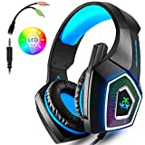 PS4 Gaming Headset, Wired PC Gaming Headset with mic, 3.5mm Over-Ear Bass Stereo, Control Noise , Colourful LED Light for Xbox One S, Nintendo Switch, PC, Laptop, Tablet, Mobile (Blue)