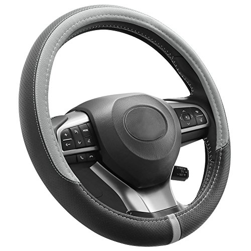 COFIT Breathable and Non Slip Microfiber Leather Steering Wheel Cover Universal 15 Inch - Gray and Black