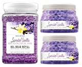 SMELLS BEGONE Odor Eliminator Gel Bead Value Pack - Air Freshener - 2 x 12 Ounce + 48 Ounce Refill (Purple)