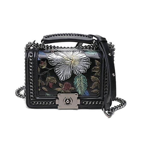 AJLBT Pintado Flores Estereotipos Bolsas De Cadena Europa Y América Moda Salvaje Bolso De Hombro Simple Bolso De Mujer Black