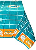Amscan Miami Dolphins NFL Football Sports Theme Plastic Table Cover Party Supplies (6 Piece), 9''