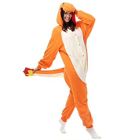 Adulto Charmander Onesie Pijamas Forro Polar Pijamas Cartoon Animal Disfraz de Halloween Cosplay Unisex Naranja Naranja