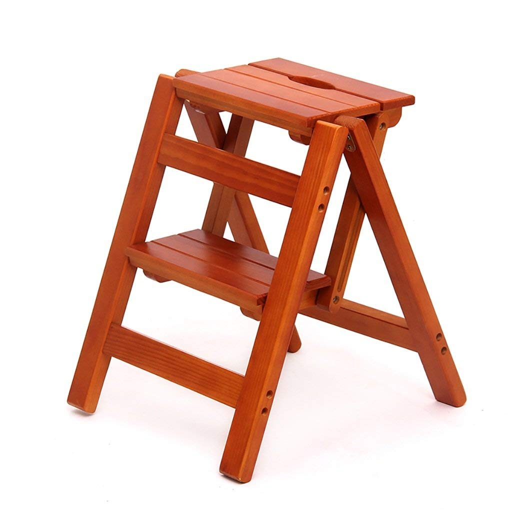 A2 Isogea Step stool solid wood flower stand household folding ladder shelf wood ladder multi-function indoor family high stool high ladder, 2 size optional (color   B3) (color   B4, Size   -)
