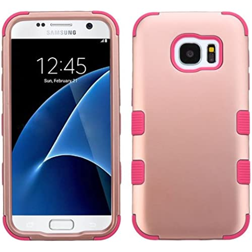 Galaxy S7 Case, Rock Me Wireless (TM) 2 items Bundle - 24K Gold Plating Sticker and Triple Layers Hybrid Protector Case Cover for Samsung Galaxy S7. (Rose Gold Sales