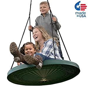 """Super Duper Spinner, FUN 40"""" Safe Solid Comfortable Seat. Swing Set or Tree. Includes a 10 ft. Tree Swing Hanging Kit, Holds 650 lb, Fully Assembled."""