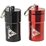 FINE SET of 2 Airtight Jars, Containers for Weed / Herbs, Cool Storage, Perfect as Travel Secret mini Stash Box, Smell Proof ,Waterproof, Keychain, Black and Red with Gift Box ()
