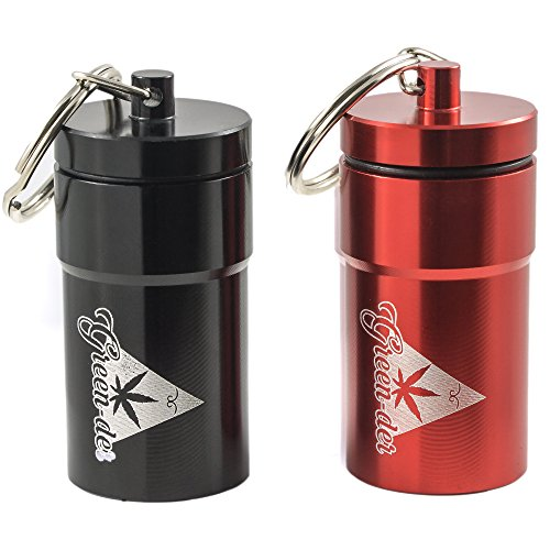 Cool Set of 2 Smell-Proof Airtight Stash Jars, Waterproof Containers for Weed, Herbs and Tobacco with Keychain, Perfect as Secret Mini Travel Stash Box, Black, and Red by (Dog Lovers Pot Holder)
