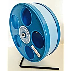 """8"""" JUNIOR WODENT WHEEL FOR SUGAR GLIDERS, HAMSTERS, MICE AND OTHER SMALL PETS LT BLUE WITH BLUE PANELS"""