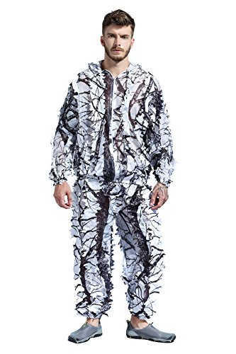 SUNRIS Snow Wild Zipper Ghillie Suit for Hunting Shooting Birdwatching