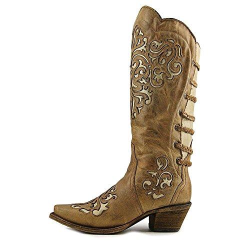 Corral Piel De Vaca Para Mujer Con Incrustaciones Y Espalda Con Cordones Cowgirl Bota Snip Toe - A3043 Brown