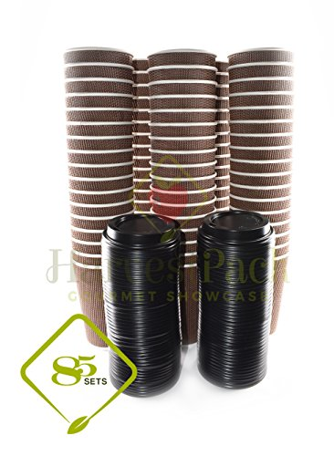 [85 COUNT] 16 oz Disposable Double Walled Hot Cups with Lids - No Sleeves needed Premium Insulated Ripple Wall Hot Coffee Tea Chocolate Drinks Perfect Travel To Go Paper Cup and lid Brown Geometric by Harvest Pack