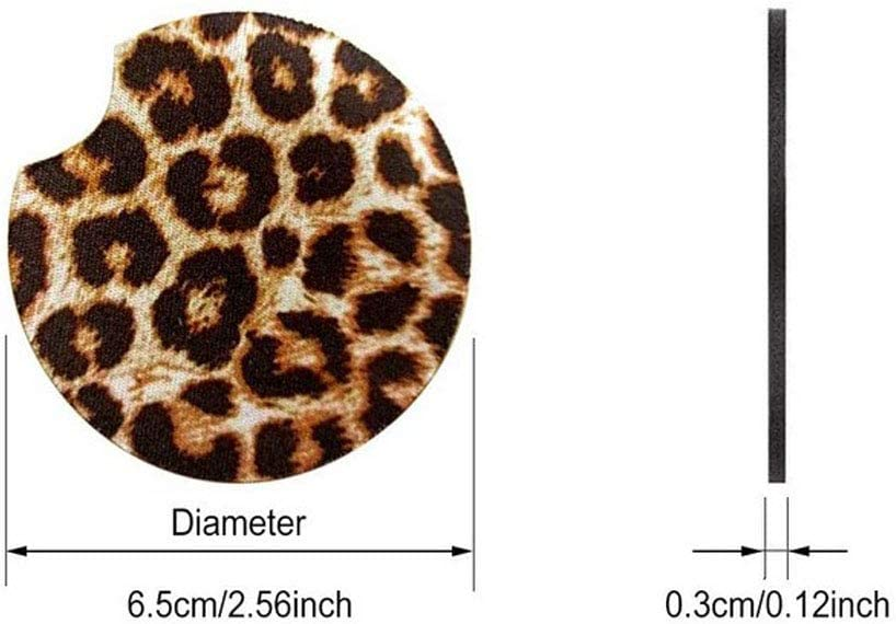 2PCS 2.56Inch Leopard Car Coasters Round Cup Pads Drinks Mat Holder for Car Auto Interior Accessories