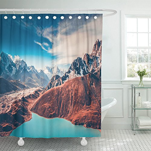 TOMPOP Shower Curtain Himalayas View From Gokyo Ri 5360 Meters Up in the Mountains of Nepal Snow Covered High Peaks and Lake Waterproof Polyester Fabric 72 x 72 Inches Set with Hooks