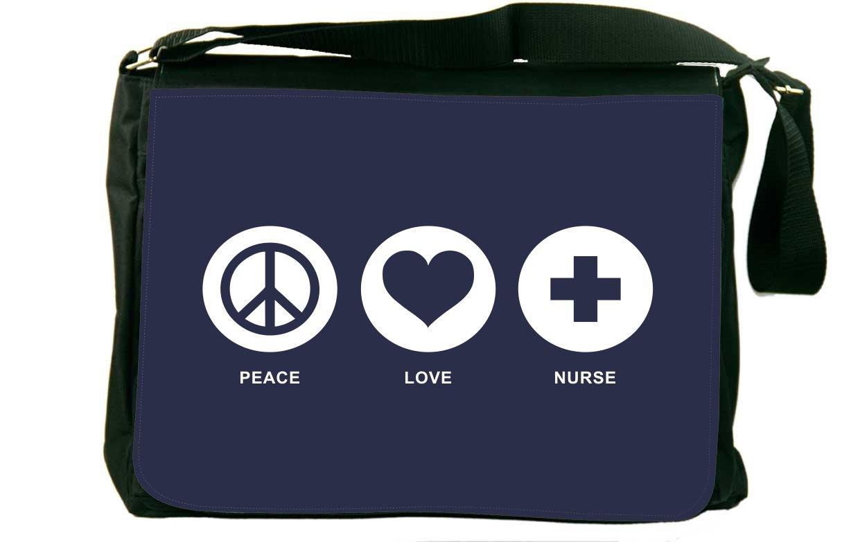 Rikki Knight Peace Love Nurse Blue Color Design Messenger Bag - Shoulder Bag - School Bag for School or Work