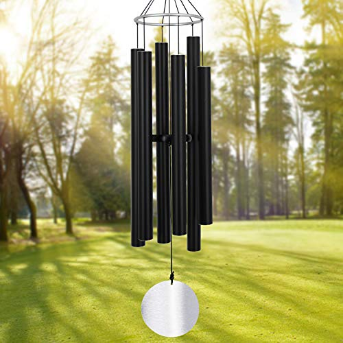 (Large Wind Chimes Outdoor Deep Tone,45Inch Sympathy Wind Chimes Amazing Grace with 6 Tubes Tuned Relaxing Melody,Memorial Wind Chimes Large for Mom,Garden Decor,Black)