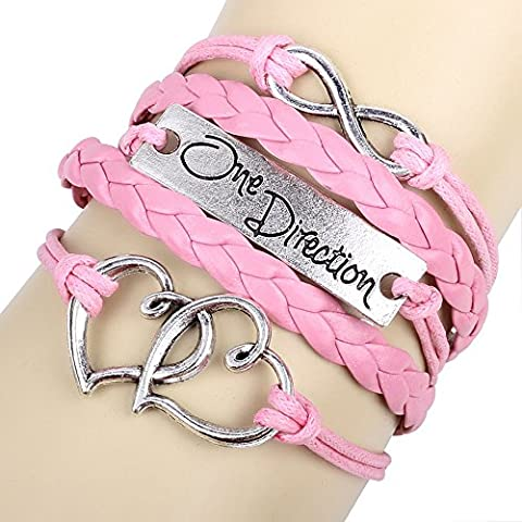 Winter's Secret One Direction Theme Heart To Heart Lucky Eight Pink Woven Leather Bracelet
