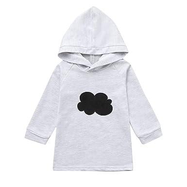 e7fde6a8ecbe6 Sunenjoy Bébé Garçon Fille Long Sweatshirt à Capuche Pull Manches Longues  Blouse Nuage Imprimé Veste Plus
