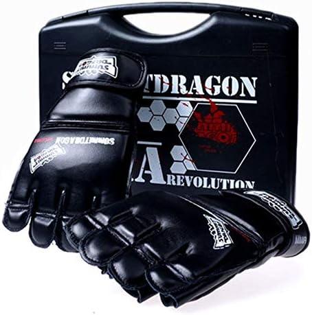 手袋 日常 実用 多機能統合戦闘ハーフフィンガートレーニンググローブMMAフリーファイトボクシンググローブ (Color : Black, Size : 12oz)