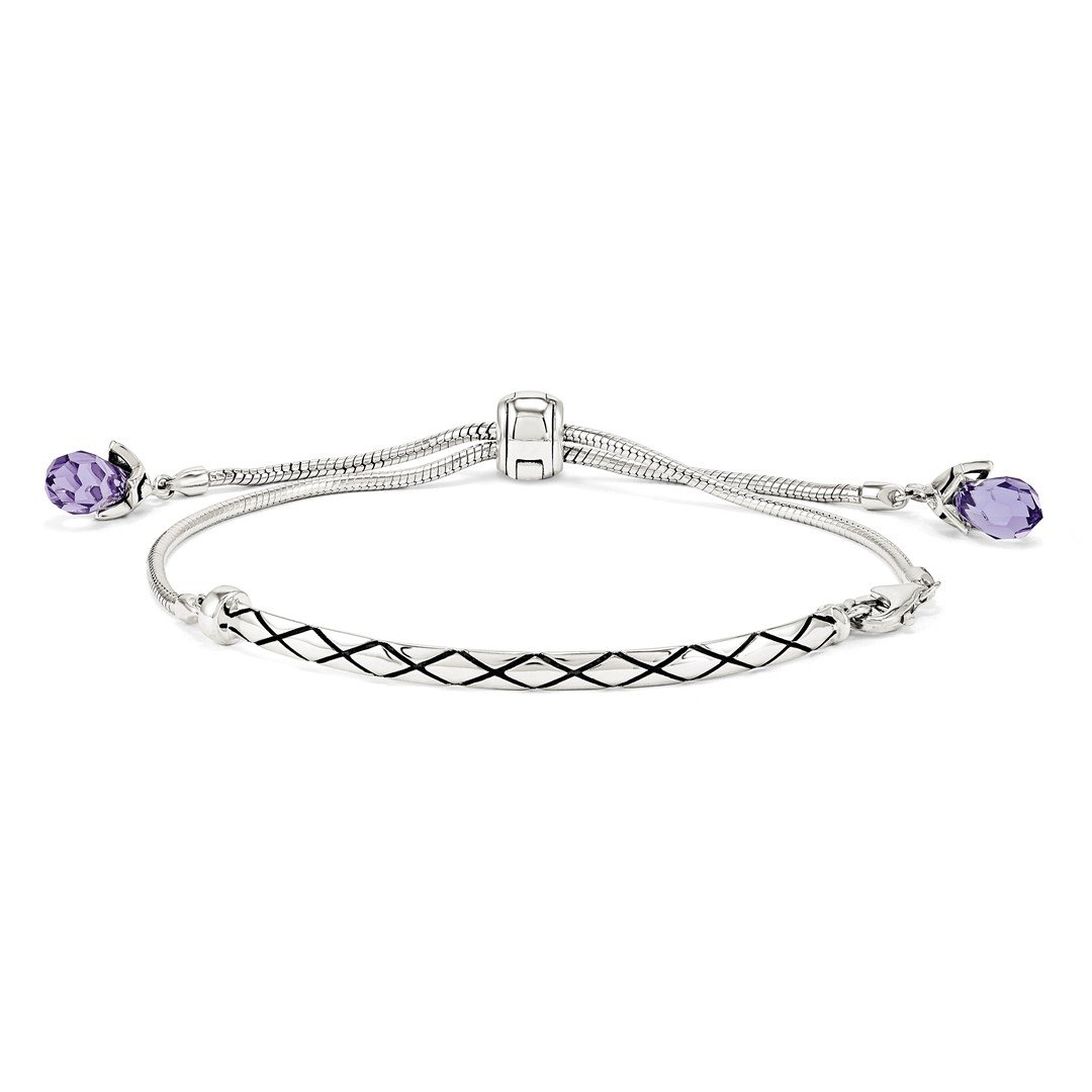 ICE CARATS 925 Sterling Silver Reflections Purple Swarovski Crystal Adjustable Bracelet 9.50 Inch Stretch Wrap Fine Jewelry Ideal Gifts For Women Gift Set From Heart