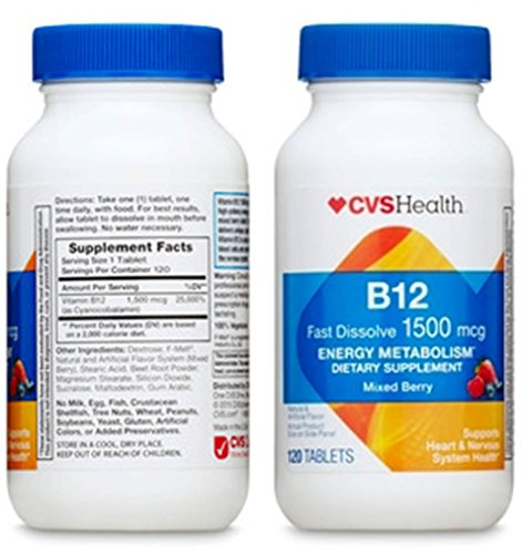 Pack of 2 - CVS Health Vitamin B-12 1500 mcg Dissolving Tablets, Mixed Berry - 120 Tablets Each