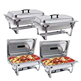 Chafing Dish -SUNCOO 8 Quart Buffer Chafer Stainless Steel Full Size Chafer Dish Rectangular Chafer W/Water Pan, Food Pan, Fuel Holder and Lid For Catering Buffet Warmer Set with Folding Frame 4 Packs