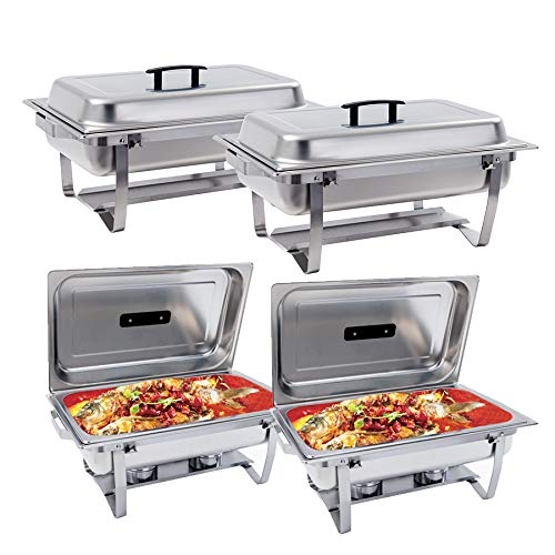 8 Quart Buffer Chafer Stainless Steel Full Size Chafer Dish Rectangular Chafer W/Water Pan, Food Pan, Fuel Holder and Lid For Catering Buffet Warmer Set with Folding Frame 4 Packs ()