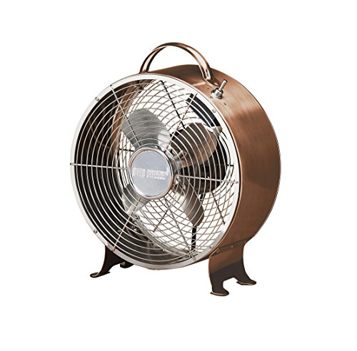 Oscillating Retro Desk Fan - DecoBREEZE Retro Table Fan 2 Speed Air Circulator Fan, 9 In, Brushed Copper
