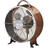 DecoBREEZE Retro Table Fan Air Circulator Fan, Brushed Copper