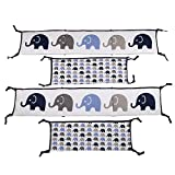 Crib Bumpers for Cribs with Attached Changing Table Bacati - Elephants Blue/grey Bumper Pad